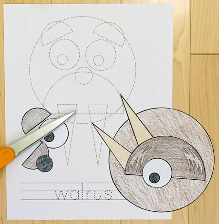 Outline for walrus shapes practice craft