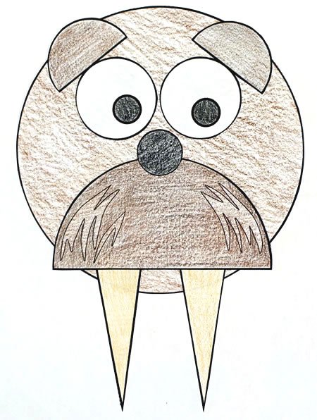 Walrus shapes practice paper craft for kids